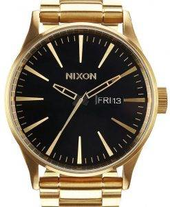 Nixon Sentry SS Gold Tone Black Dial A356-510-00 Mens Watch