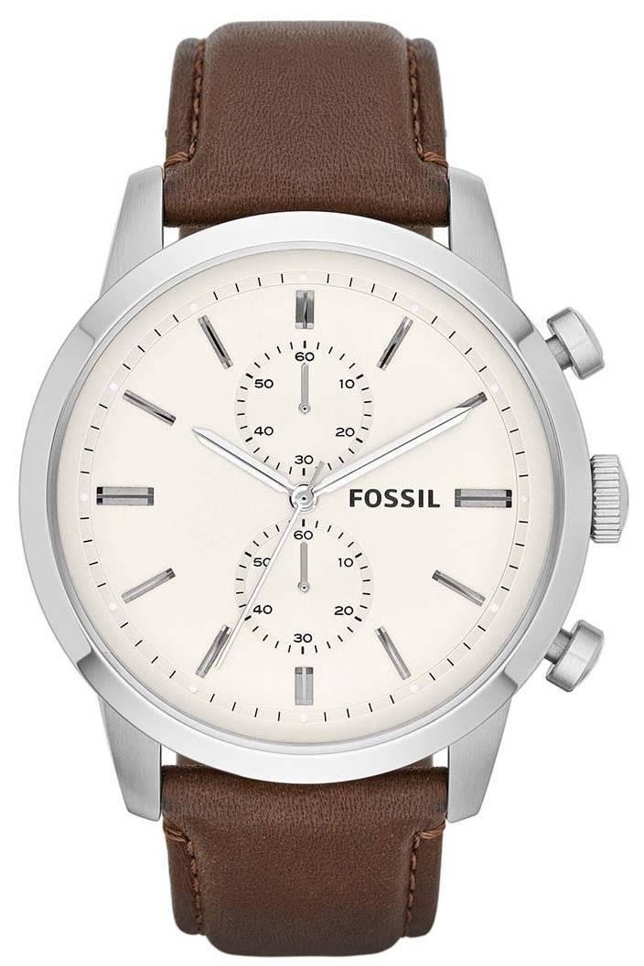 Townsman Fossil Herrenuhr Zifferblatt Braun Quarz Fs4865 Weißes Chronograph Leder oCWrBdxe