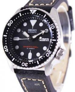 Seiko Automatic Diver's Black Leather SKX007J1-var-LS2 200M Mens Watch