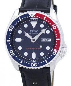 Seiko Automatik Diver 200M Verhältnis aus schwarzem Leder SKX009K1-LS6 Herrenuhr