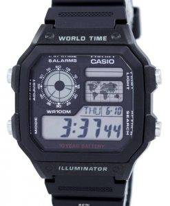 Casio Jugend Illuminator Welt Zeit Alarm AE-1200WH-1AV AE1200WH-1AV Herrenuhr