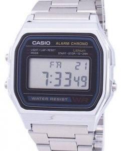 Casio Digital Edelstahl Täglicher Alarm A158WA-1DF A158WA-1 Herrenuhr