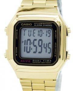 Casio Digital Edelstahl Alarm Chrono Dual Time A178WGA-1ADF A178WGA-1A Herrenuhr