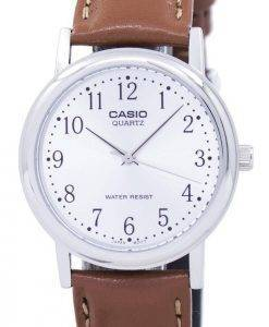 Casio Quarz Silber Zifferblatt braun Leder MTP-1095E-7BDF MTP-1095E-7 b Herrenuhr