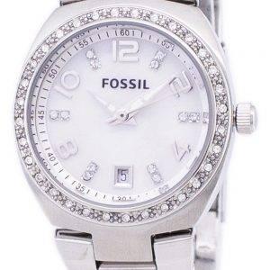 Fossil Flash Swarovski-Kristall-Mutter von Perlmutt-Zifferblatt AM4141 Damenuhr