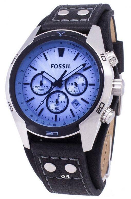 Fossil Kutscher Chronograph schwarz Leder CH2564 Herren Uhr