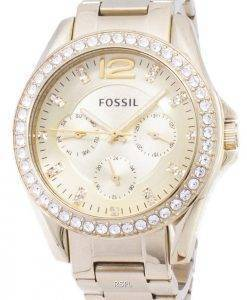 Fossil Riley Multifunktions-Gold-Ton Crystal Dial ES3203 Damenuhr
