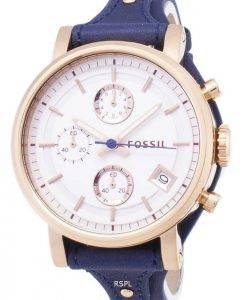 Fossilen Original Freund Quarz Chronograph blau Leder Strap ES3838 Damenuhr