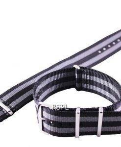 Seiko 22mm grau & Nato Armband schwarz, für SKX007, SKX009, SKX011, SRP497, SRP641