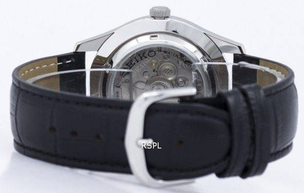 Seiko 5 Sport automatische Japan gemacht Verhältnis aus schwarzem Leder SNZG15J1-LS6 Herrenuhr