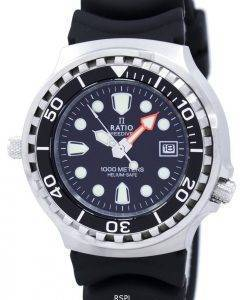 Ratio II Free Diver Helium sicher 1000M Quarz 1038EF102V Herrenuhr