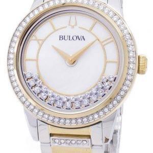 Bulova Crystal Drehkreuz 98 L 245 Quarz Diamant Akzenten Damenuhr