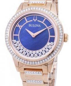 Bulova Crystal Drehkreuz 98 L 247 Quarz Diamant Akzenten Damenuhr