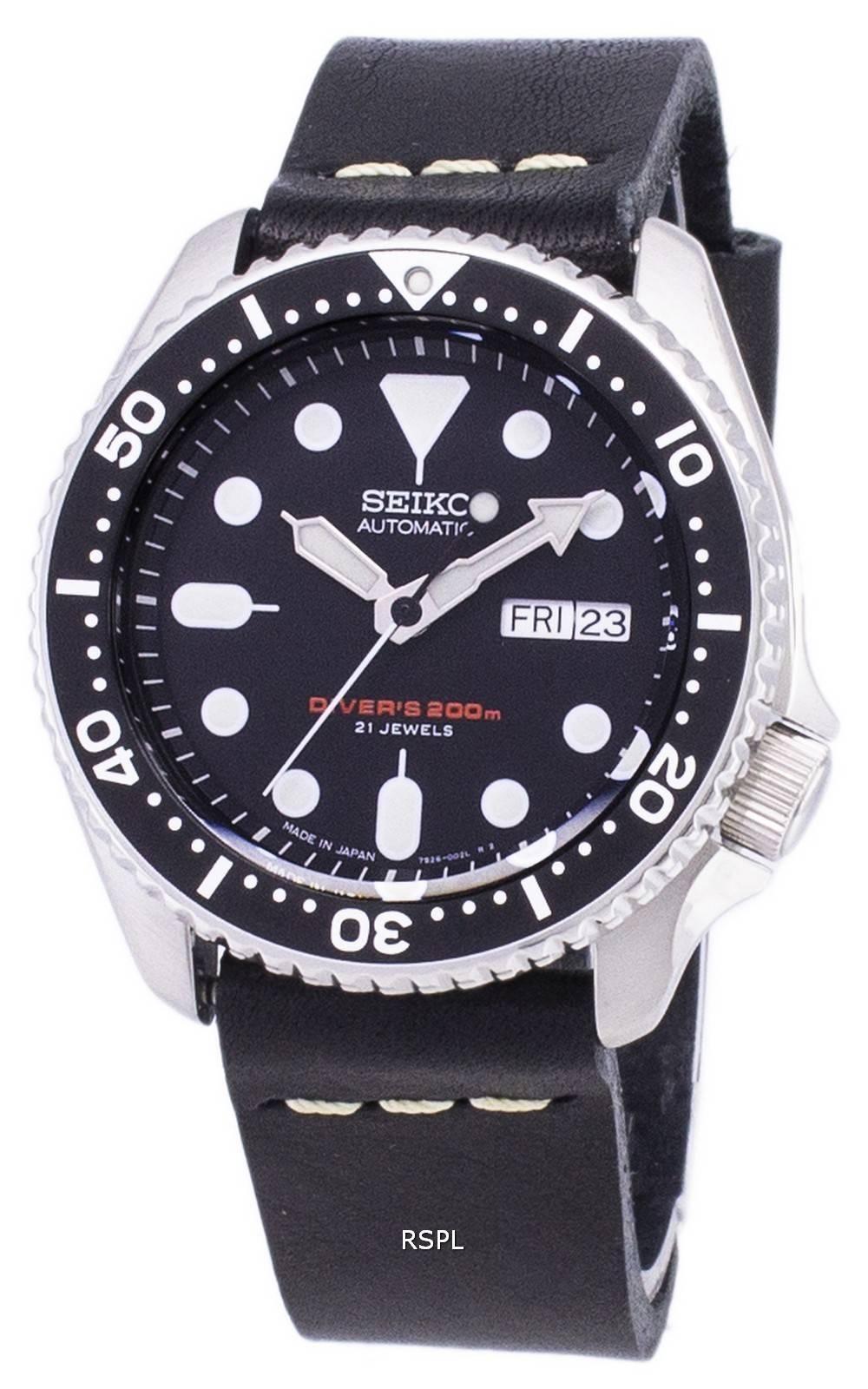 Schwarzem Automatik Hergestellt Ls14 Japan Diver Armband Skx007j1 Aus Leder Herrenuhr Seiko 200m PXZTklwiOu