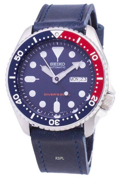 Seiko Automatik SKX009K1 LS13 Diver 200M dunkel blau Leder Armband Herrenuhr