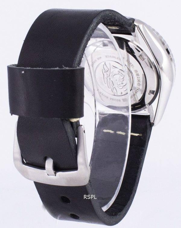 Seiko Automatik SKX011J1-LS14 Diver 200M Japan hergestellt aus schwarzem Leder Armband Herrenuhr