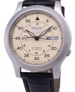 Seiko 5 Military SNK803K2-SS1 automatische schwarzes Leder Armband Herrenuhr