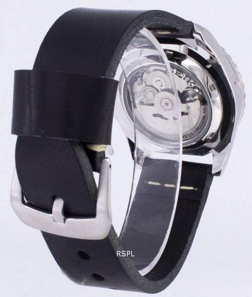 Seiko 5 Sports SNZF17K1 LS14 automatische schwarzes Leder Armband Herrenuhr