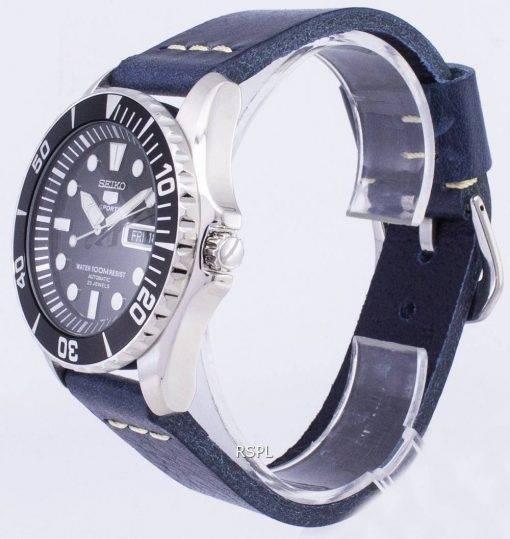 Seiko 5 Sport SNZF17K1-LS15 automatische dunkel blau Leder Armband Herrenuhr