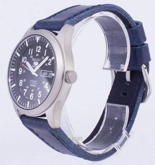 Seiko 5 Sports SNZG15J1 LS13 Japan machte dunkel blau Leder Armband Herrenuhr