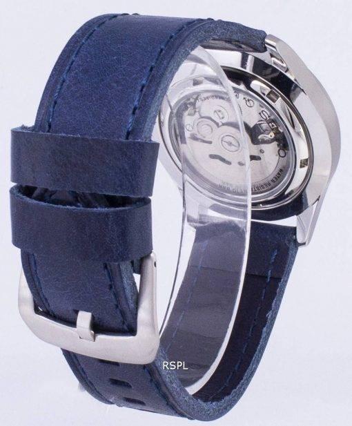 Seiko 5 Sports SNZG15K1 LS13 automatische dunkel blau Leder Armband Herrenuhr