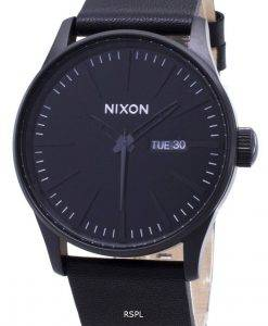 Nixon Quarz Sentry schwarzem Leder A105-001-00 Herrenuhr