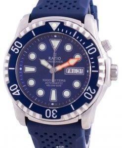 Verhältnis Free Diver Helium-Safe 1000M Saphir Automatik 1068HA90-34VA-BLU Herrenuhr