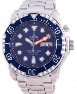 Verhältnis Free Diver Helium-Safe 1000M Saphir Automatik 1068HA96-34VA-BLU Herrenuhr