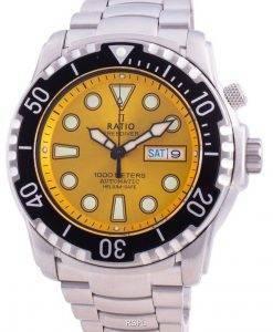 Verhältnis Free Diver Helium-Safe 1000M Saphir Automatik 1068HA96-34VA-YLW Herrenuhr
