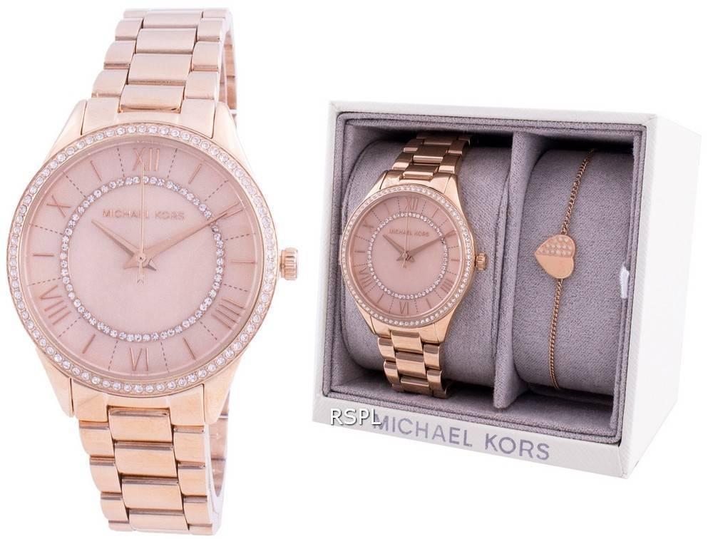 Michael Kors Lauryn MK4491 Quarz-Diamant-Akzente mit Geschenkset Damenuhr