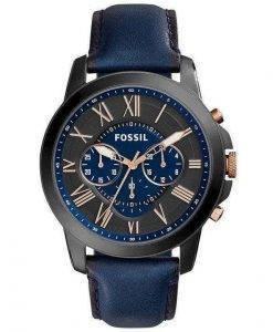 Fossil Grant Chronograph schwarz und blau blauem Leder FS5061 Herren Uhr telefonisch