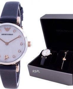 Emporio Armani Gianni T-Bar Diamond Accents Quartz AR80036 With Gift Set Womens Watch