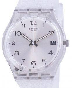 Swatch Silverblush Silber Zifferblatt Silikonarmband Quarz GM416C Herrenuhr