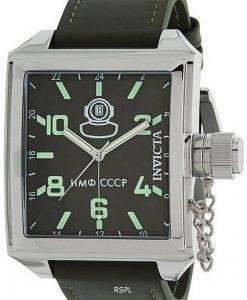 Invicta Russian Diver Green Dial Lederarmband Quarz 33706 100M Herrenuhr
