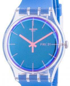 Swatch Polablue Blaues Zifferblatt Silikonarmband Quarz SUOK711 Herrenuhr