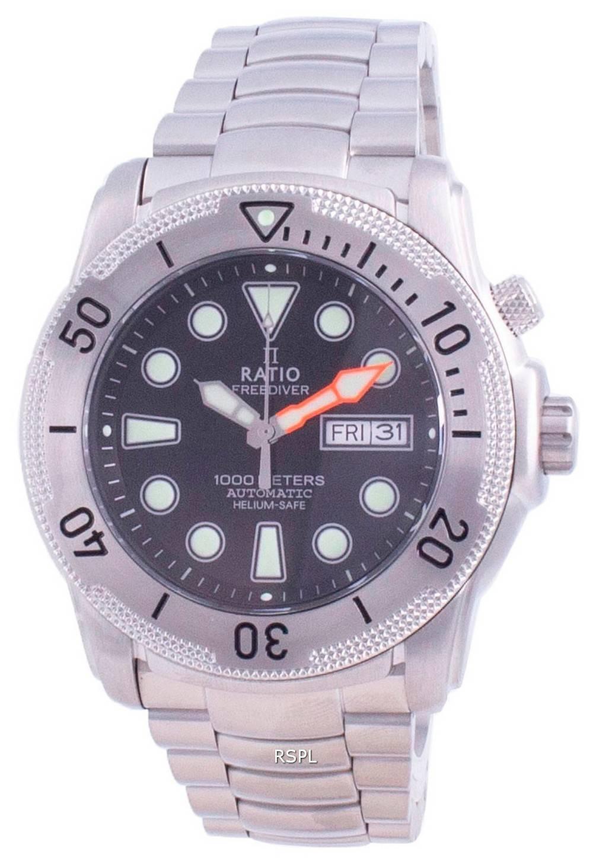 Verhältnis Free Diver Helium-Safe Automatik 1068MD96-34VA-BLK 1000M Herrenuhr